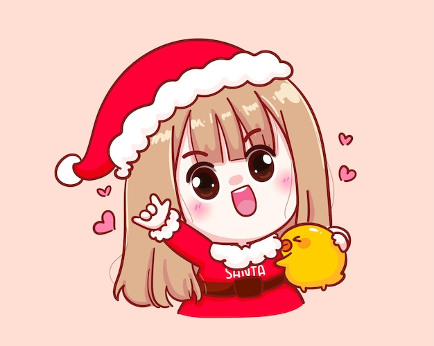 Cute girl in santa claus costume made by hand as a symbol of love illustration