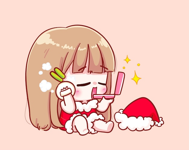Cute girl in santa claus costume making up illustration
