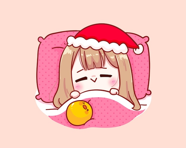 Cute girl in santa claus costume sleeping blanket illustration
