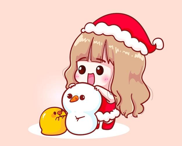 Cute girl in santa claus costume snowman pump illustration