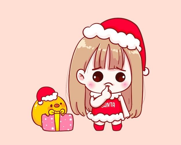 Cute girl in santa claus costume thinking illustration