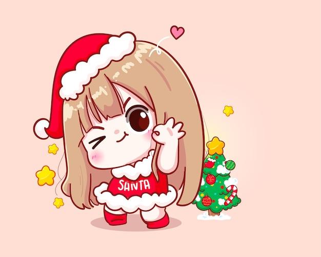귀여운 소녀 산타 클로스 해피 메리 크리스마스 일러스트