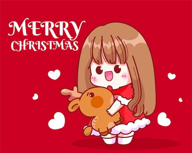 귀여운 소녀 산타 크리스마스 휴일 축하 손으로 그린 만화 예술 그림에 순록 인형을 포옹