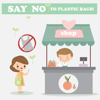 Cute girl say no take plastic bag when buying goods