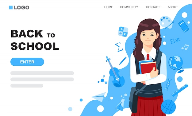 Cute girl in school uniform landing page