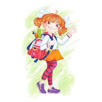 Cute girl schoolgirl with a briefcase.