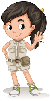 A cute girl scout on white background