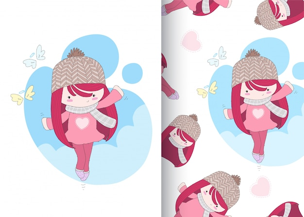Cute girl seamless pattern