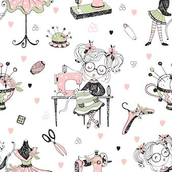 Милая девушка-швея шьет платье на швейной машинке. стиль каракули.