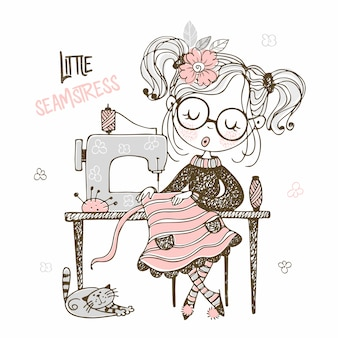 Cute girl seamstress sews on a sewing machine dress. doodle style.