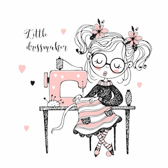 Cute girl seamstress sews on a sewing machine dress.
