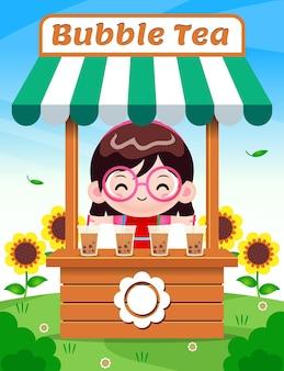 Милая девушка продает пузырьковый чай