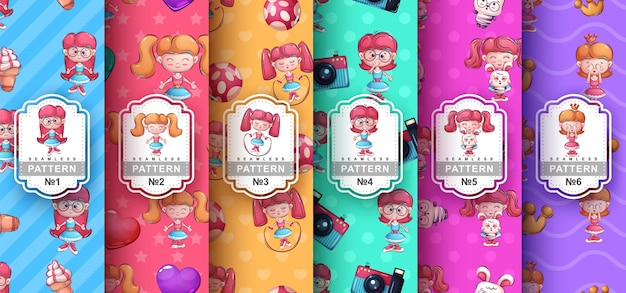 Cute girl - set seamless pattern