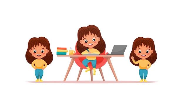 Милая девушка с различными жестами и изолированными позами. девушка учится за столом дома. иллюстрации шаржа