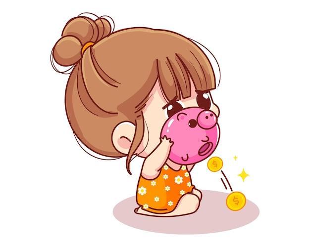 Милая девушка трясет копилку, полную денег, детских сбережений и финансов, иллюстрации шаржа
