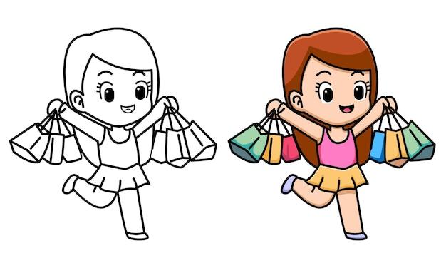 아이들을 위한 쇼핑하는 귀여운 소녀 색칠하기