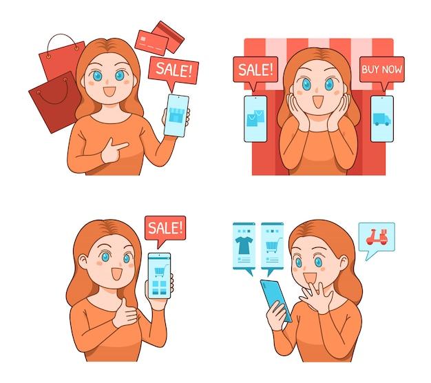 Милая девушка, покупки в интернете с смартфон, мобильный телефон, показывая экран приложения, мультфильм векторный набор