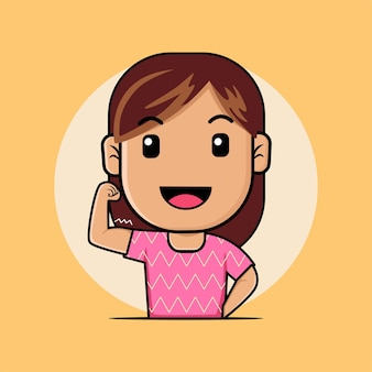 Cute girl shows her biceps cartoon illustration