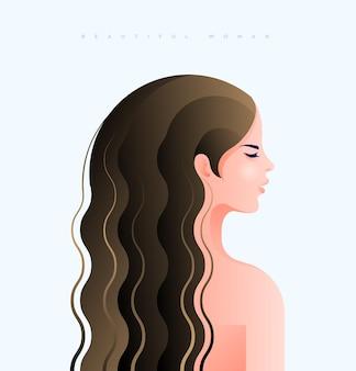 濡れた長い茶色の髪のかわいい女の子の横顔ベクトル