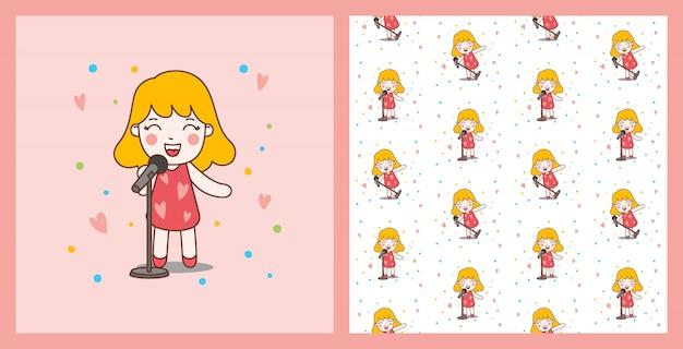 Блондинка cute girl sing с красным платьем иллюстрации и бесшовные модели, хорошо для печати