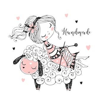 A cute girl sits on a sheep and knits a scarf.