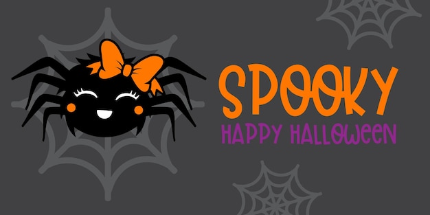 Cute girl spider with orange bow - halloween hand drawn on t-shirt design, greeting card or poster design background vector illustration.