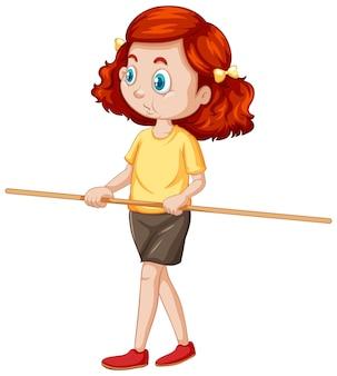 かわいい女の子が立って、木製のハンドルを持って