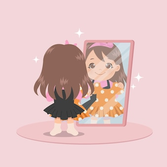 Cute girl standing in front of mirror trying on new dress. female dressing up. flat  design