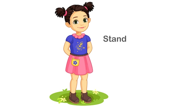 Cute girl in standing pose illustration