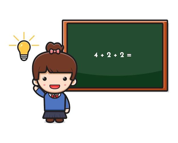 かわいい女の子の学生は、数学の漫画のアイコンのベクトル図をやってアイデアを得ました。白い平らな漫画のスタイルに分離されたデザイン。
