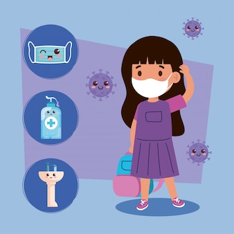 Cute girl student wearing medical mask to prevent coronavirus covid 19 with cute icons kawaii