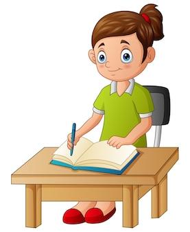 공부 하 고 책상에 쓰는 귀여운 소녀