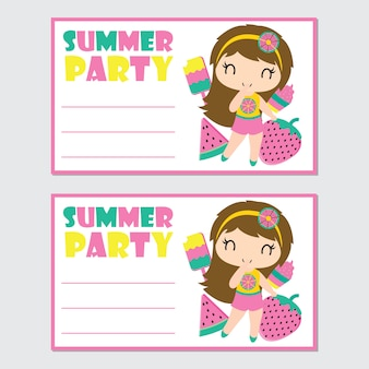 Cute girl and summer elements for summer party card