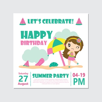Cute girl on summer party for birthday card