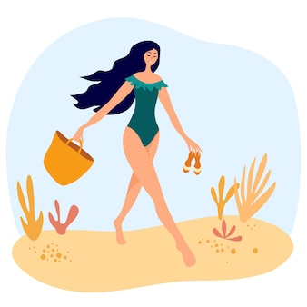 Cute girl in a swimsuit walks on the beach with a bag and flip flops. women relaxing at summer resort. seaside holiday look, walking pose. vector flat style cartoon illustration
