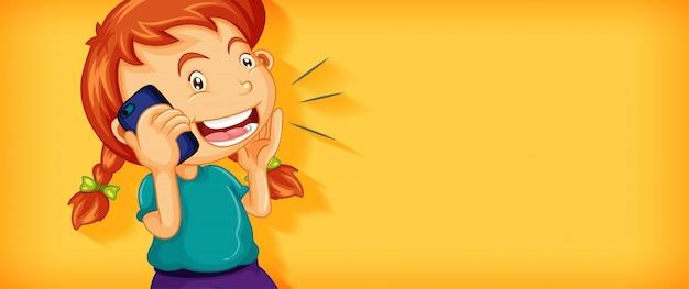 分離された電話の漫画のキャラクターで話しているかわいい女の子