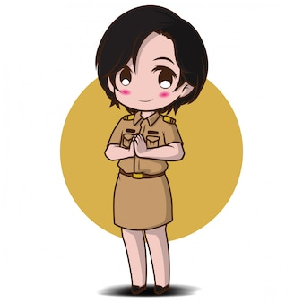 Cute girl in thai government costume., job concept.