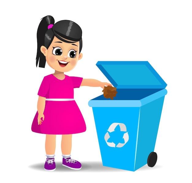 ごみ箱にゴミを投げるかわいい女の子