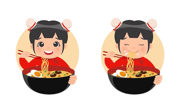 Cute girl in traditional chinese attire eat noodle ramen