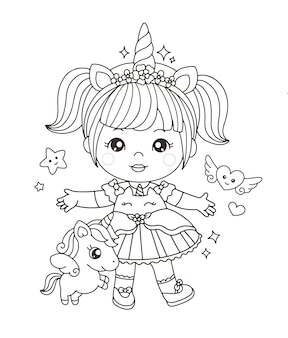 Cute girl in unicorn costume coloring page
