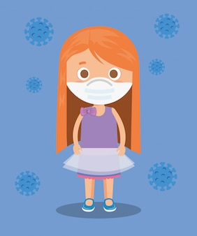Cute girl using face mask with particles covid 19 illustration design