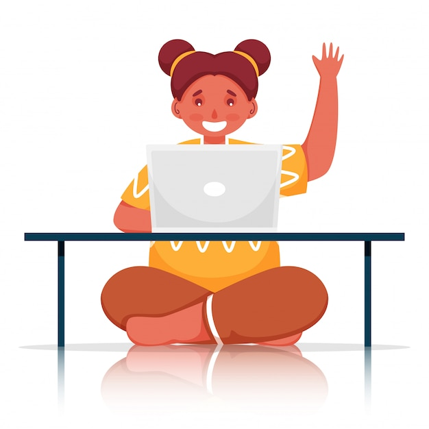Cute girl using laptop at table with hello gesture on white background.