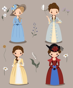 Cute girl in victorian dress cartoon collection set