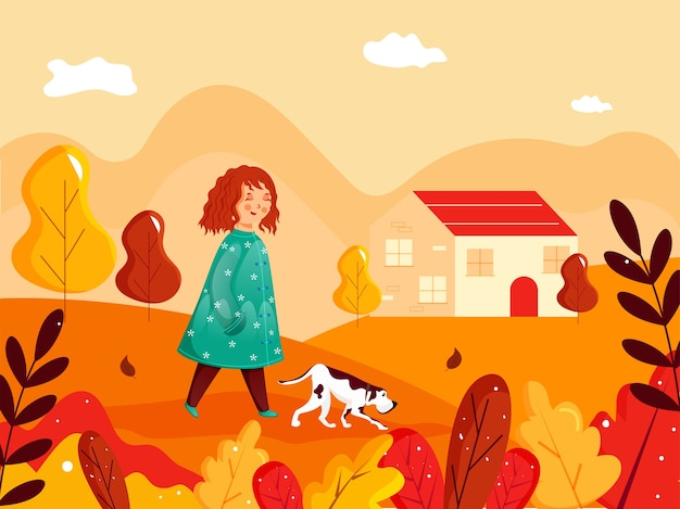 Cute girl walking with dog character in front of house on colorful nature background.