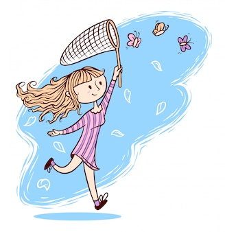 Cute girl want to catch butterflies illustration