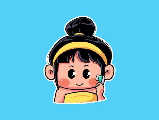 かわいい女の子は、スキンケアルーチンのマンガイラストのために真水で顔を洗ってすすぎます