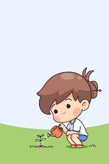 Cute girl watering the tree