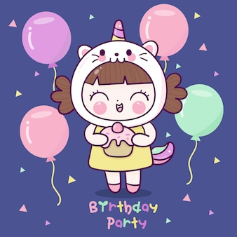 Cute girl wear fancy unicorn cat dress cartoon birthday party with balloon