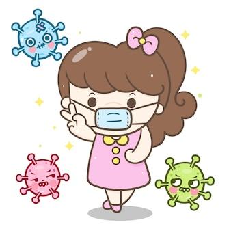 Cute girl wear mask anti coronavirus
