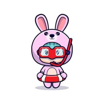 수영 고글과 토끼 의상을 입고 귀여운 소녀
